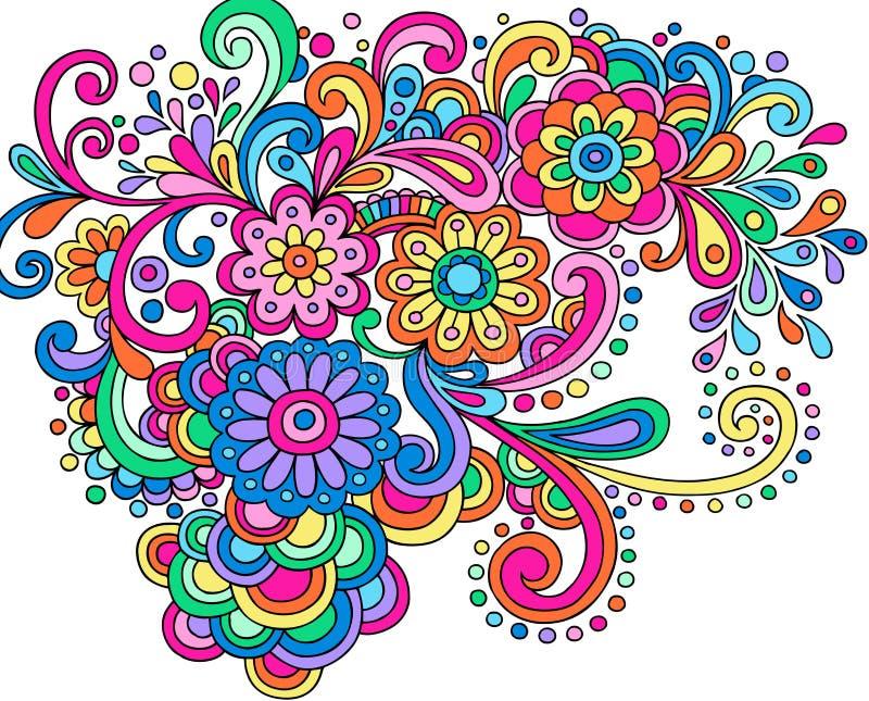 El extracto de la alheña del Doodle florece y remolina vector libre illustration