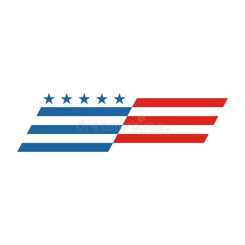 El extracto de la bandera americana, los E.E.U.U. señala el logotipo por medio de una bandera, icono de la bandera de los E.E.U.U stock de ilustración