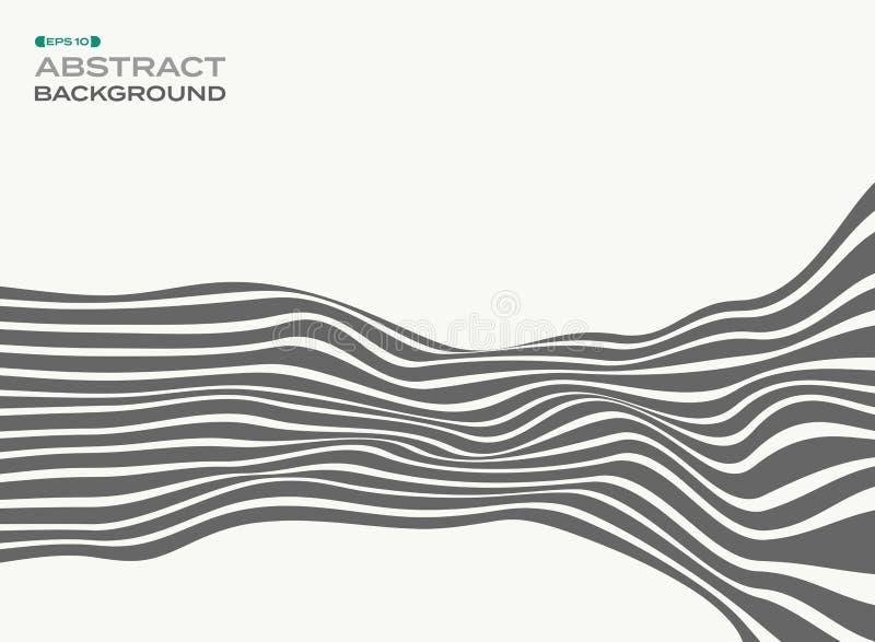 El extracto de las líneas de tira elegantes grises agita el backgroun del modelo de onda ilustración del vector
