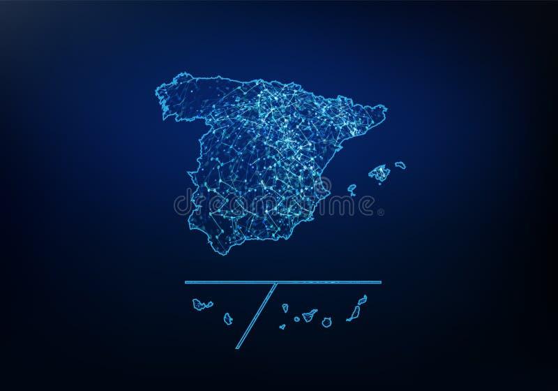 El extracto de las provincias de Espa?a traza la red, Internet y el concepto global de la conexi?n, l?nea poligonal de la red de  libre illustration