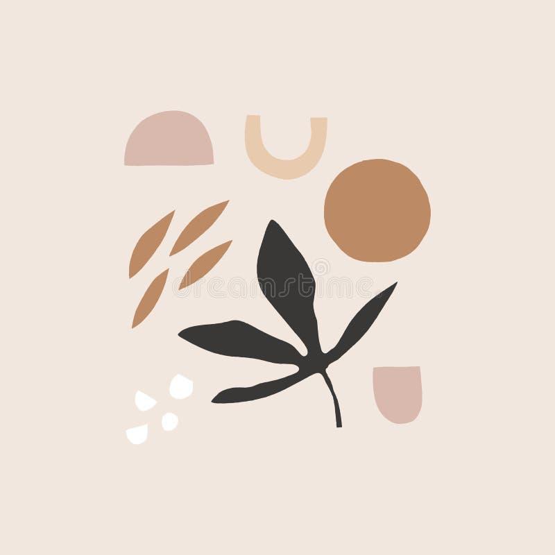 El extracto de los mediados de siglo forma el fondo o la disposición decorativo, tarjeta floral estética universal creativa Tarje stock de ilustración