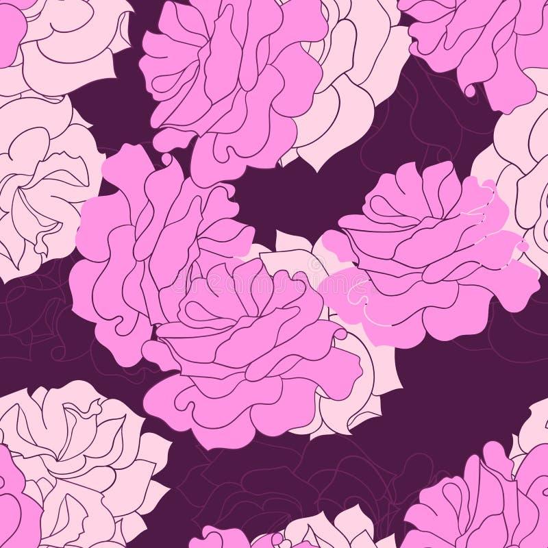 El extracto de Rose florece pink-01 stock de ilustración