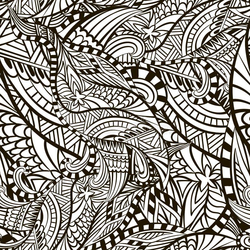 El extracto decorativo figuró textura inconsútil del vector con las líneas y los garabatos stock de ilustración