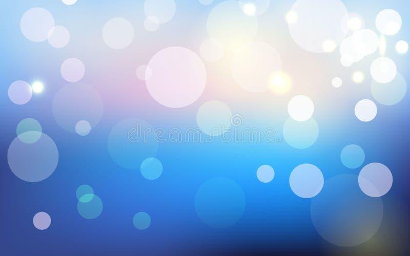 El extracto del verano empañó el fondo azul con efecto del bokeh Primavera, naturaleza, ejemplo cubierto del vector EPS 10 ilustración del vector