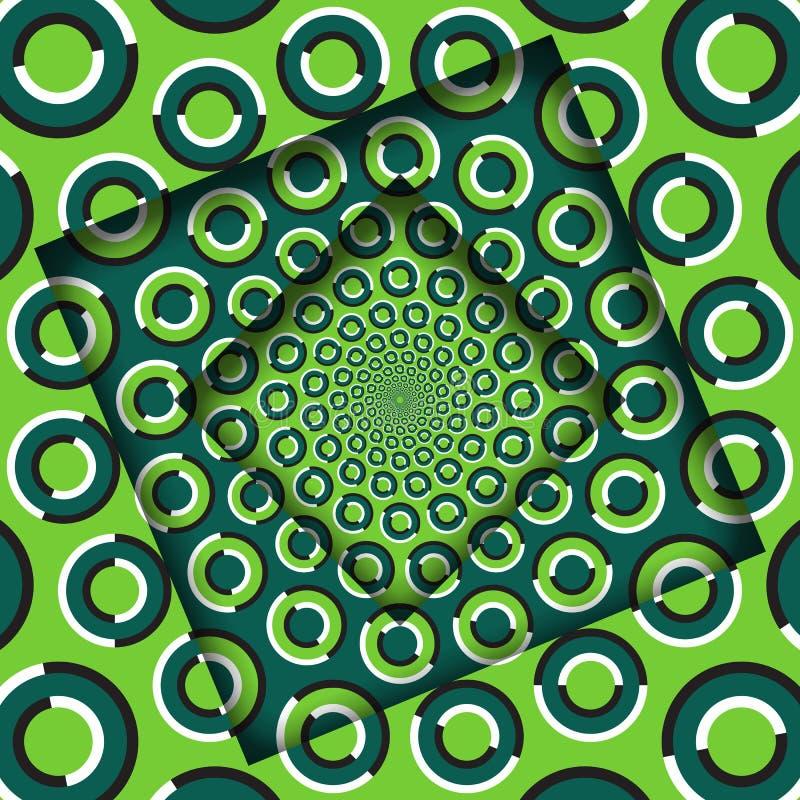 El extracto dio vuelta a marcos con un modelo verde giratorio de los anillos Fondo de la ilusión óptica stock de ilustración