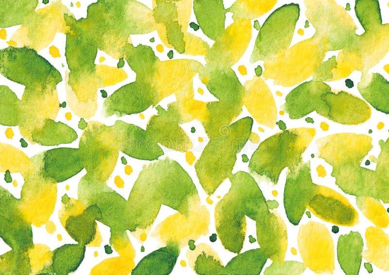 El extracto exhausto de la acuarela de la mano texturizó el fondo que salpicaba amarillo y verde stock de ilustración