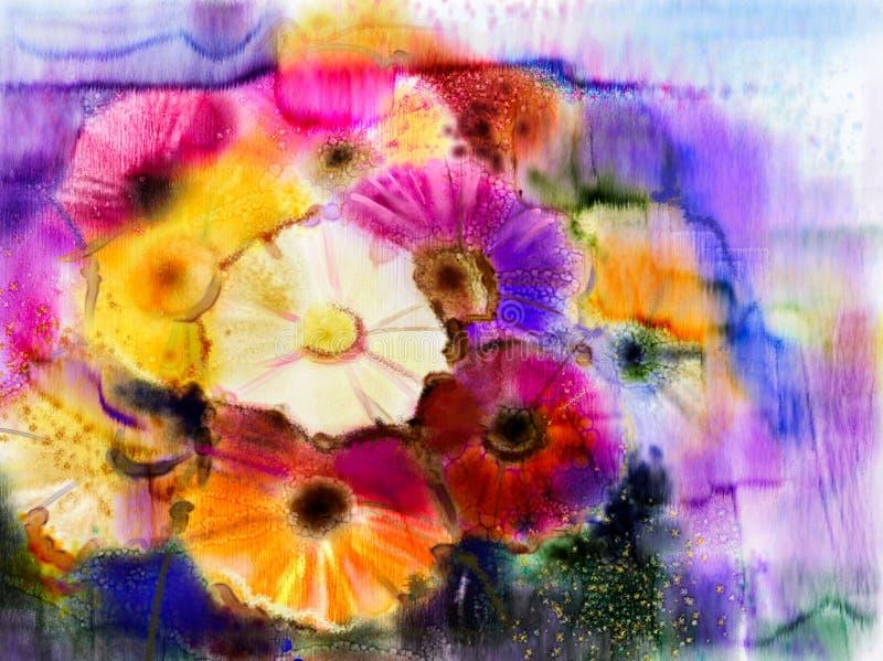 El extracto florece el gerbera de la margarita de pintura de la acuarela ilustración del vector