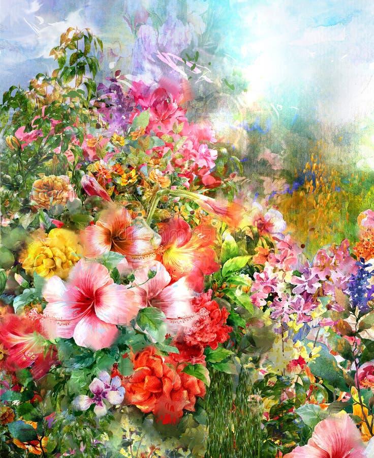 El extracto florece la pintura de la acuarela ilustración del vector