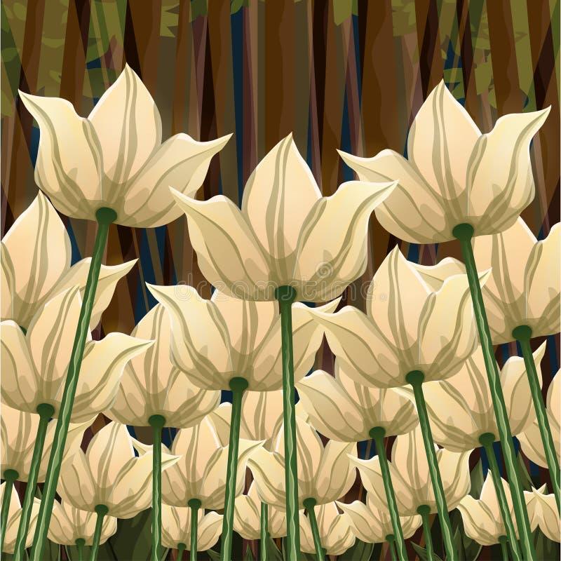 El extracto florece la visión inferior, ejemplo del vector, dibujo colorido Brotes, pétalos exhaustos y tallos de flor blancos am ilustración del vector