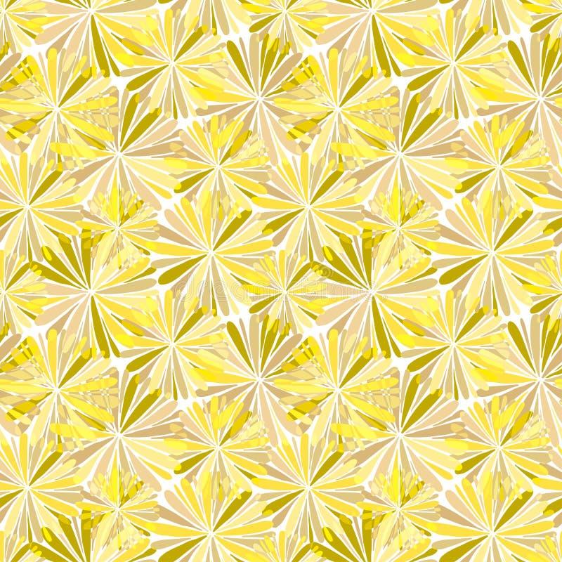 El extracto florece el modelo inconsútil en colores del amarillo del oro Diseño del fondo del papel o del web de embalaje ilustración del vector