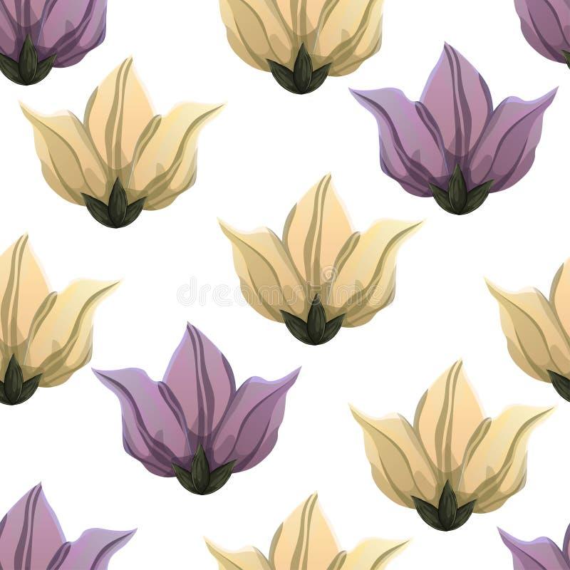 El extracto florece el modelo inconsútil, fondo floral del vector, dibujo colorido Brotes exhaustos y pétalos amarillos y púrpura stock de ilustración