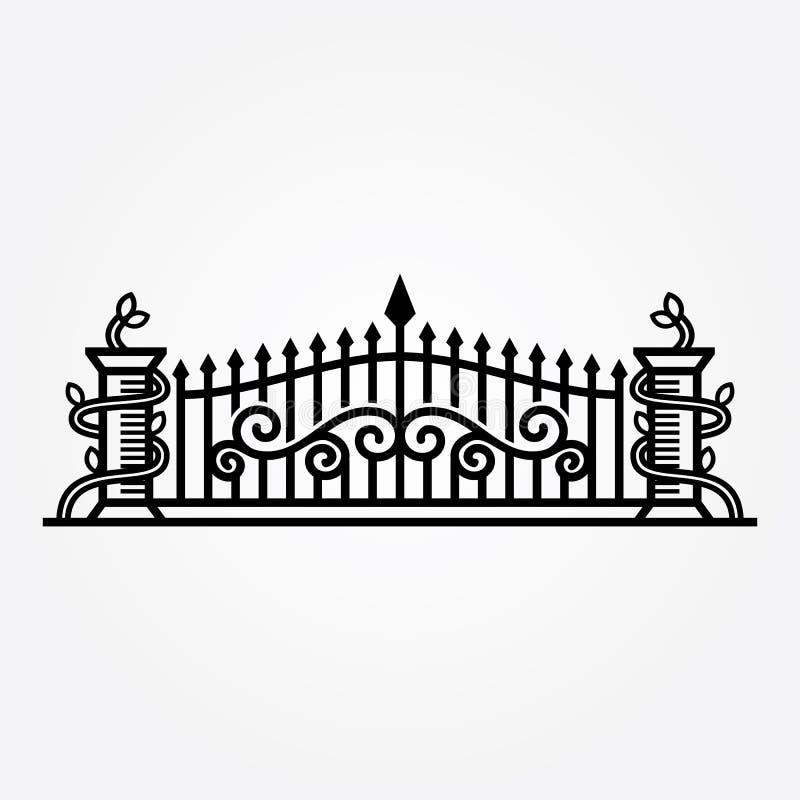 El extracto forjó el ejemplo del vector de la puerta libre illustration
