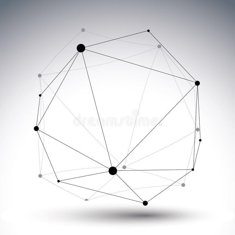 El extracto geométrico 3D del vector complicó el  е, s de ÑƒÑ del ¾ del ‰ иРdel enrejado Ñ stock de ilustración
