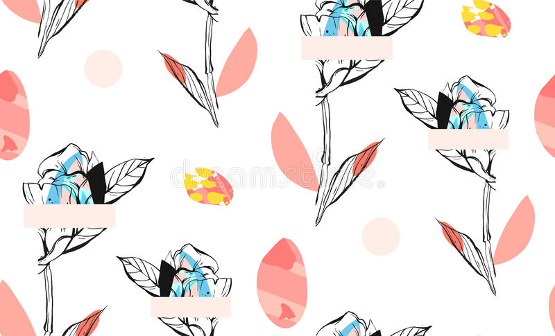 El extracto hecho a mano texturizó el modelo inconsútil del collage creativo de moda con adorno floral en el fondo blanco con ilustración del vector