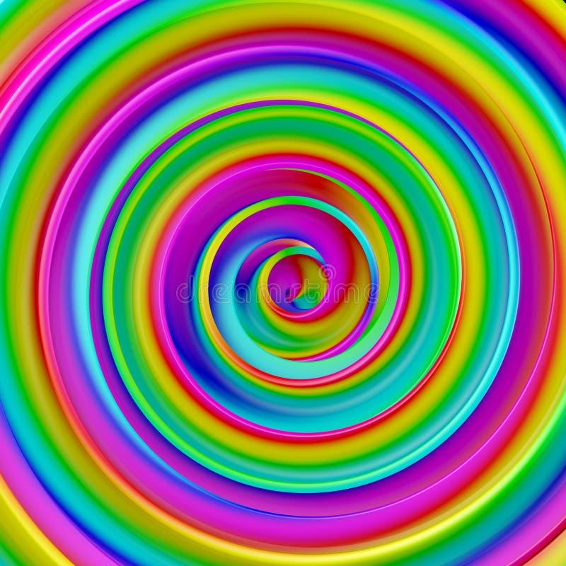 El extracto hipnótico espiral torcido pendiente colorida 3D de la forma arranca ilustración del vector