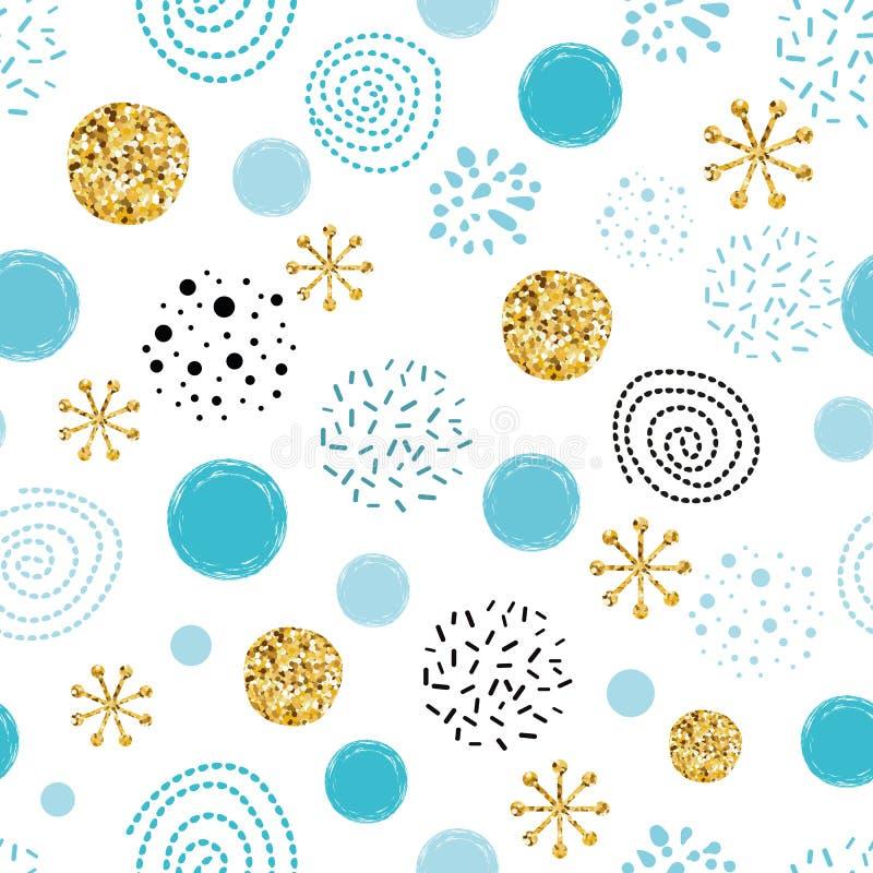 El extracto inconsútil del lunar de los sbowflakes del brillo del modelo de la Navidad del vector adorna elementos de oro, azules stock de ilustración