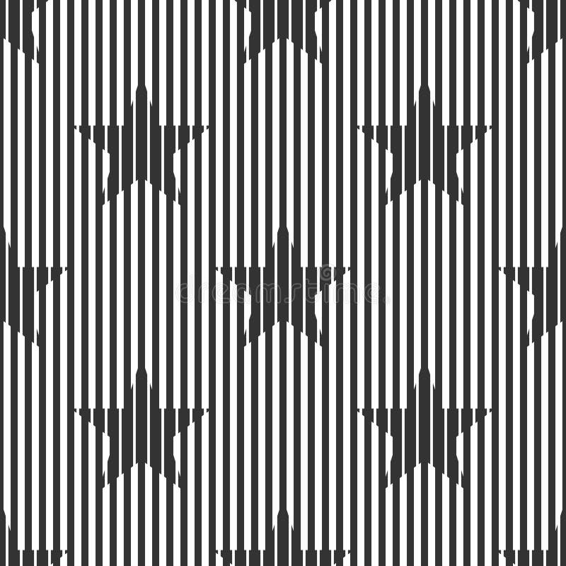 El extracto, modelo blanco y negro geométrico inconsútil, líneas estrechas y anchas, protagoniza ilustración del vector