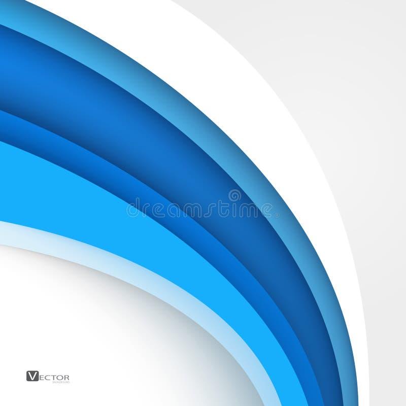 El extracto moderno azul alinea el certificado de Swoosh - apresure el wav liso stock de ilustración