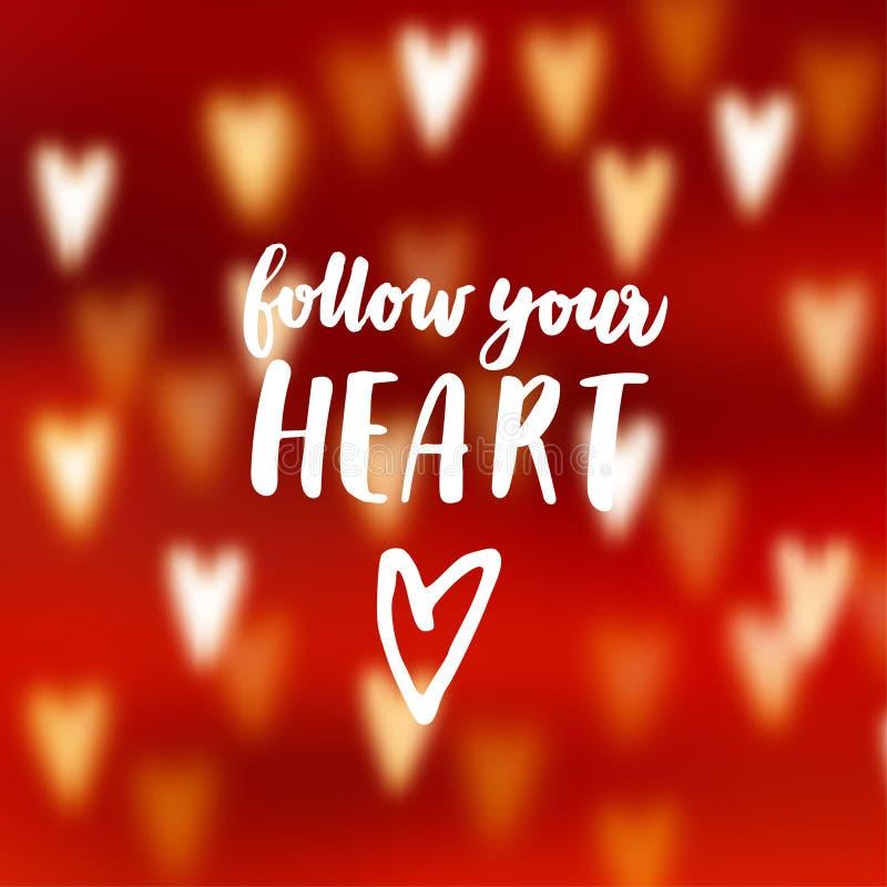 El extracto moderno empañó el fondo rojo con los corazones del efecto del bokeh Siga su texto puesto letras mano del corazón Conc stock de ilustración