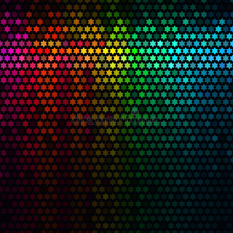 El extracto multicolor enciende el fondo del disco Vector del mosaico del pixel de la estrella ilustración del vector