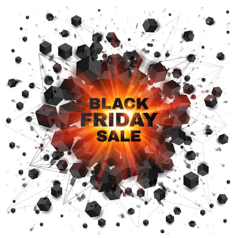 El extracto negro de la venta de viernes sombreado cubica rojo libre illustration
