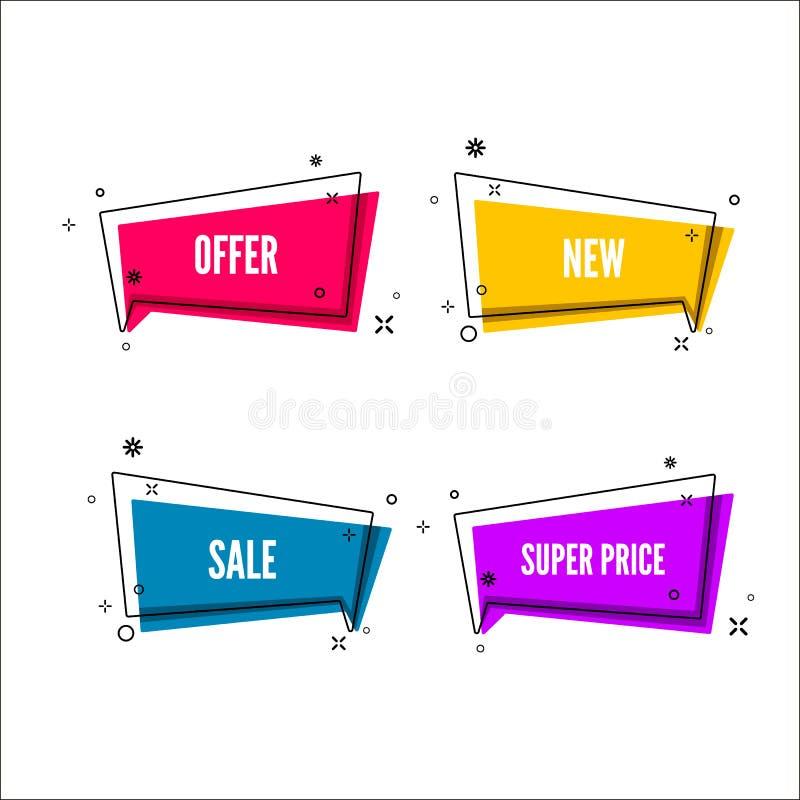 El extracto ofrece la bandera Burbuja colorida con el texto de la promoción Sistema de la plantilla geométrica del promo Ilustrac stock de ilustración