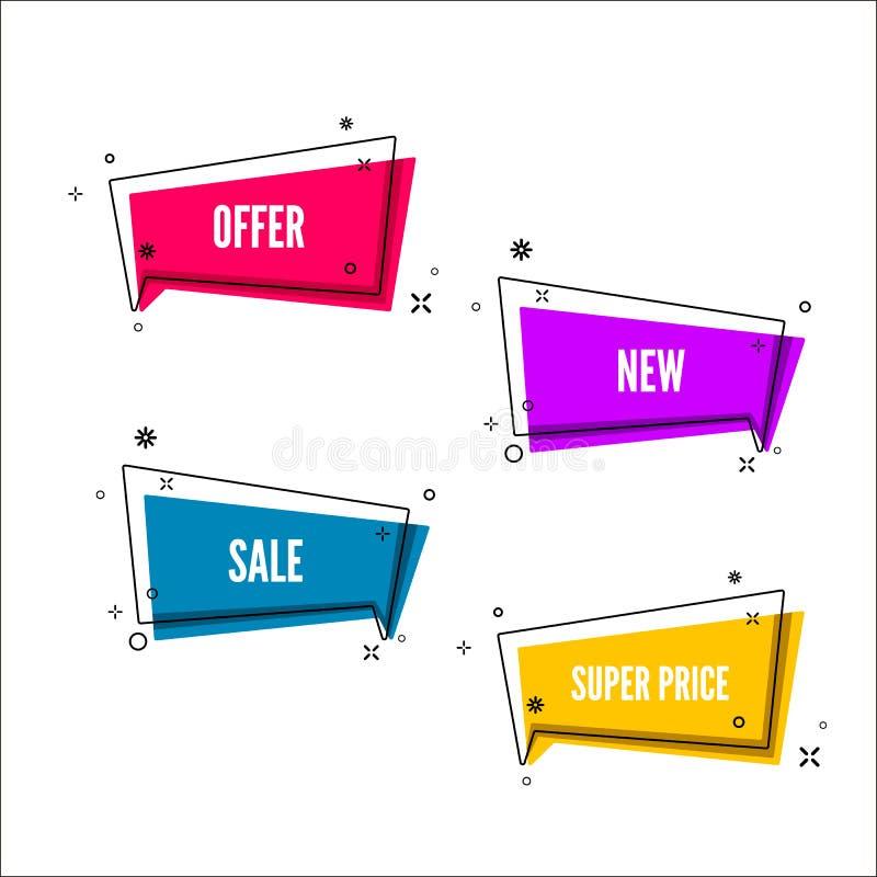 El extracto ofrece el sistema de la bandera Burbuja colorida con el texto de la promoción Sistema de la plantilla geométrica del  ilustración del vector