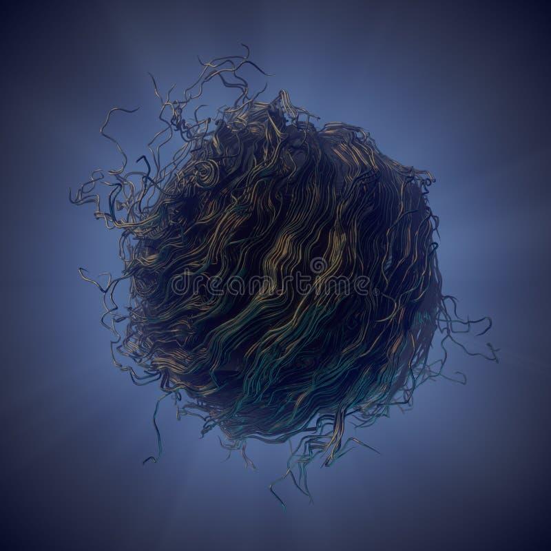 El extracto oscuro del flujo del ruido del rizo alinea la representación 3d stock de ilustración
