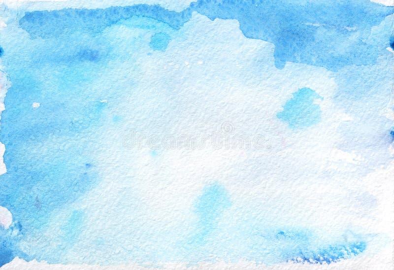 El extracto pintó el fondo azul de la acuarela en el papel texturizado stock de ilustración