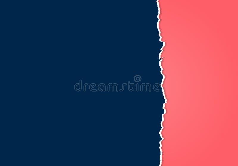 El extracto rasgó el borde desigual de papel azul marino y rosado con el espacio para el texto stock de ilustración