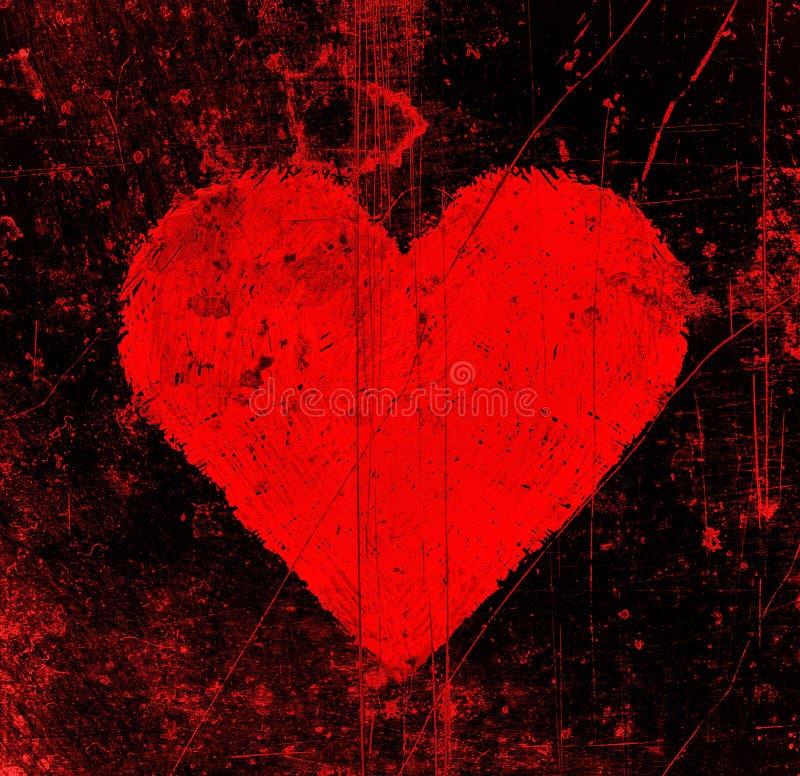 El extracto rasguña el fondo negro con el corazón rojo brillante stock de ilustración