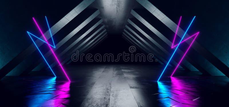 El extracto retro futurista de Sci Fi del triángulo de las luces que brillaba intensamente de neón formó el Grunge concreto de la libre illustration