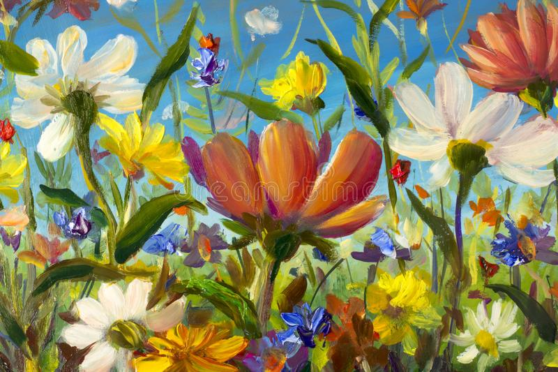 El extracto rojo, amarillo, azul, púrpura florece el ejemplo Pintura macra del impasto Ilustraciones del cuchillo de paleta Impre foto de archivo libre de regalías