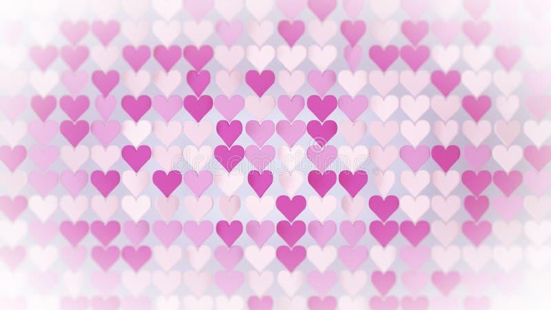 El extracto rosado 3D del arsenal de los corazones rinde el ejemplo ilustración del vector
