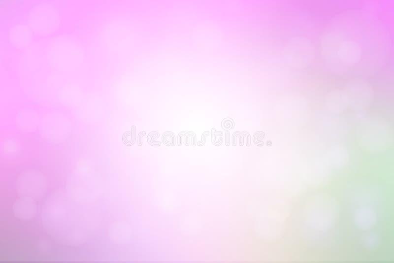 El extracto rosado verde púrpura con el bokeh enciende el fondo borroso stock de ilustración