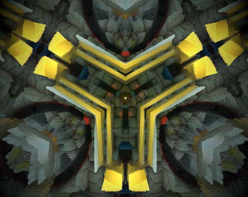 El extracto sacó ejemplo de la mandala 3D ilustración del vector
