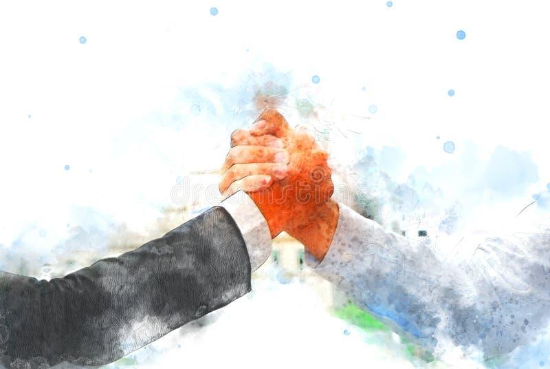 El extracto se une a la pintura de la acuarela del concepto del negocio de las manos stock de ilustración