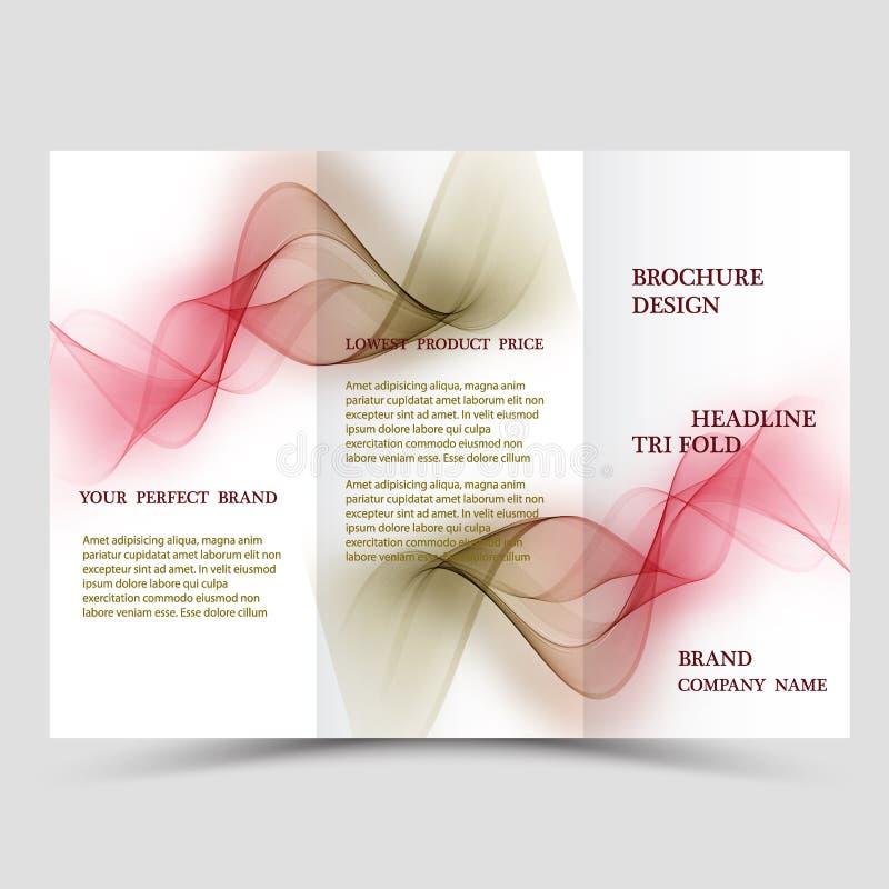 El extracto tres dobla la plantilla del folleto, disposición de diseño del aviador con el fondo poligonal verde y azul del eco stock de ilustración
