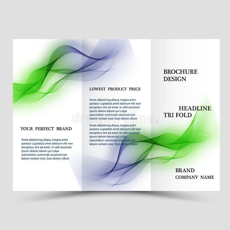 El extracto tres dobla la plantilla del folleto, disposición de diseño del aviador con el fondo poligonal verde y azul del eco libre illustration
