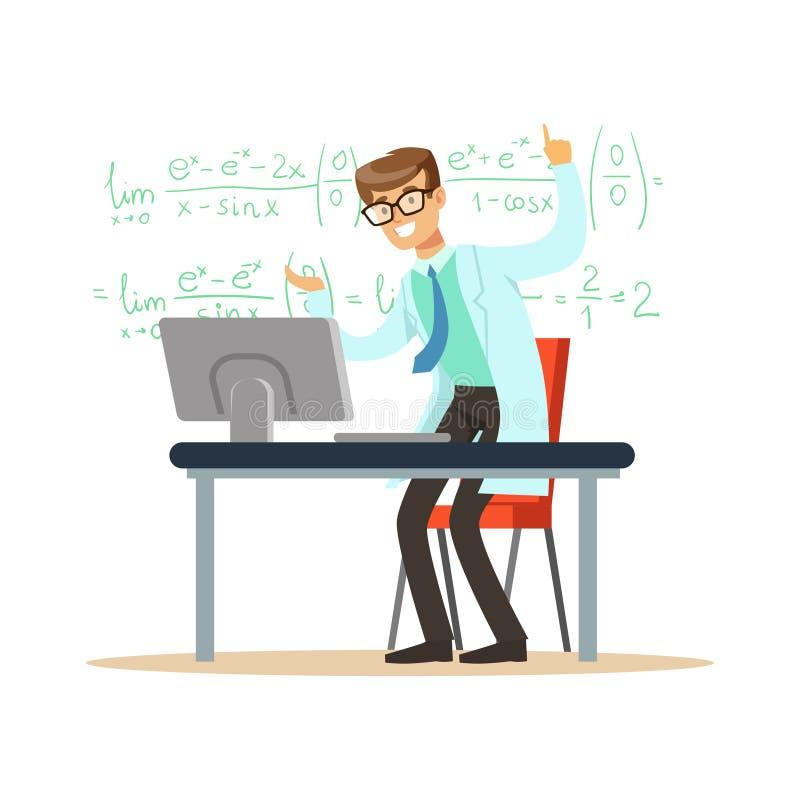 El físico o el matemático teórico alegre solucionó el problema stock de ilustración