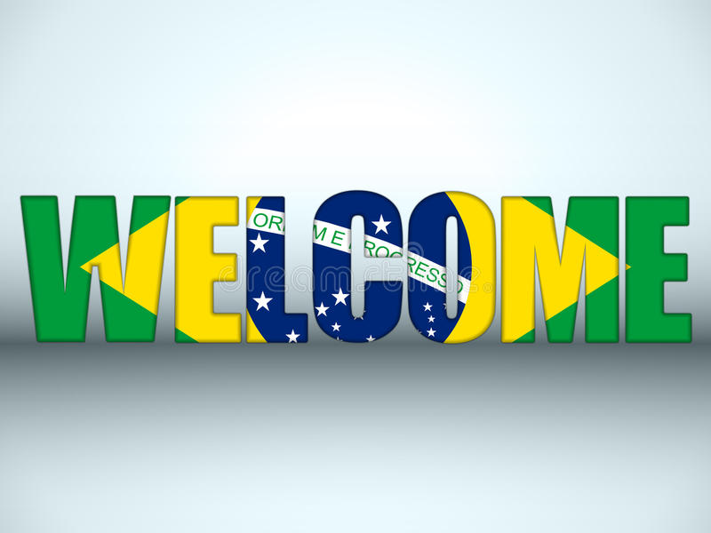 El fútbol de la recepción de la bandera del Brasil pone letras al fondo stock de ilustración