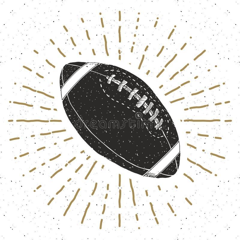 El fútbol, etiqueta del vintage de la bola de rugbi, bosquejo dibujado mano, grunge texturizó la insignia retra, impresión de la  libre illustration