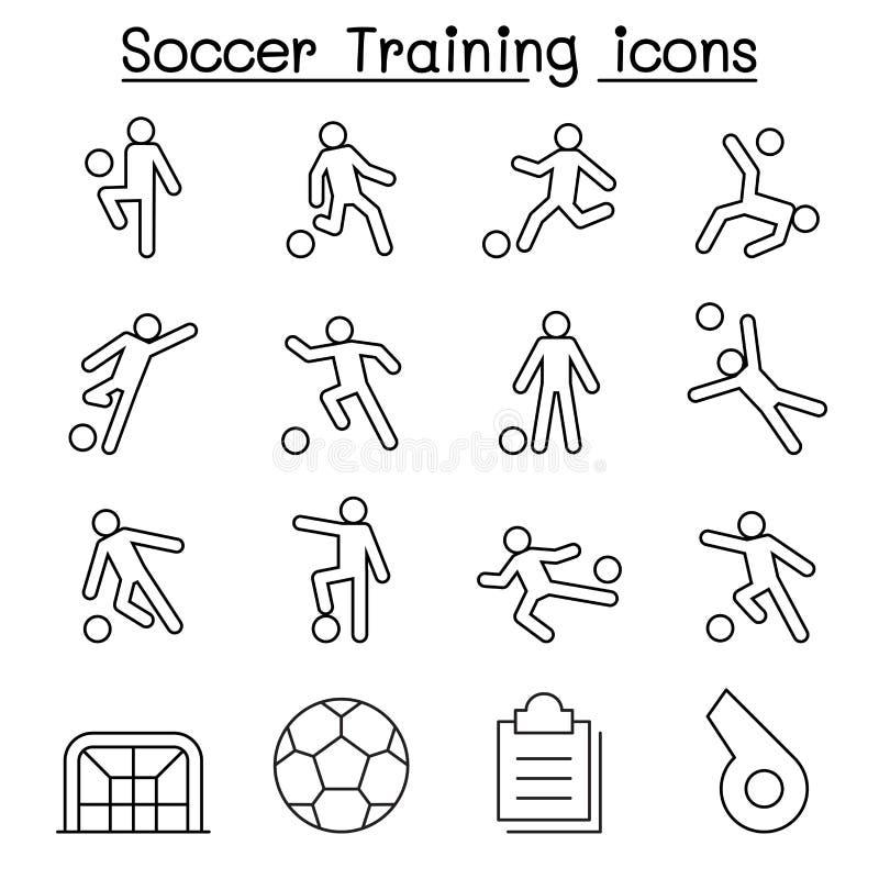 El fútbol, iconos del entrenamiento del fútbol fijó en la línea estilo fina ilustración del vector