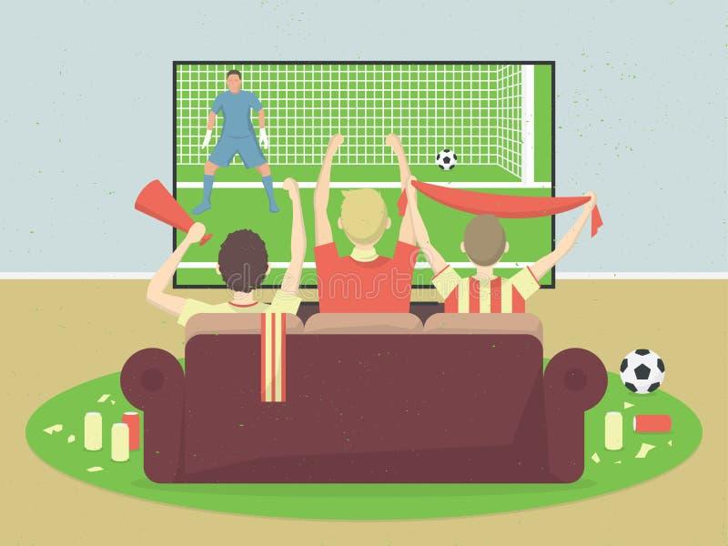 El fútbol/las fans del equipo de fútbol ve la TV con el juego, sentándose en el sofá Celebrando la meta anotada ilustración del vector