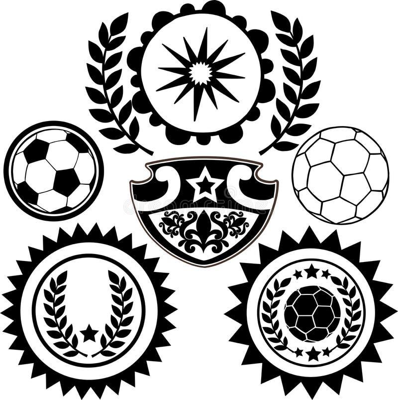 El fútbol se divierte la ilustración del vector de las crestas stock de ilustración