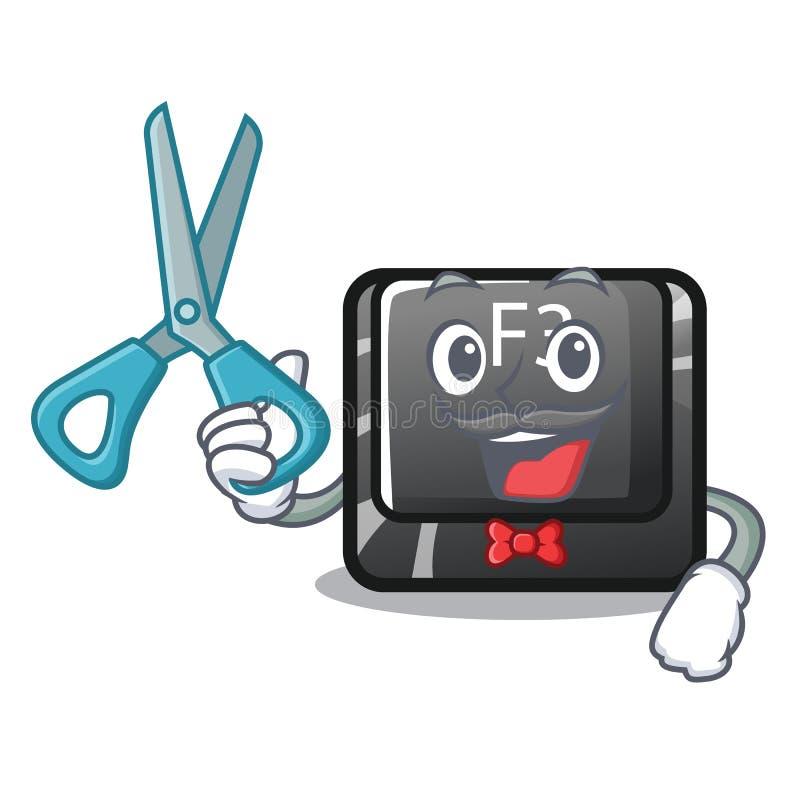 El f3 del botón del peluquero aisló en la mascota stock de ilustración