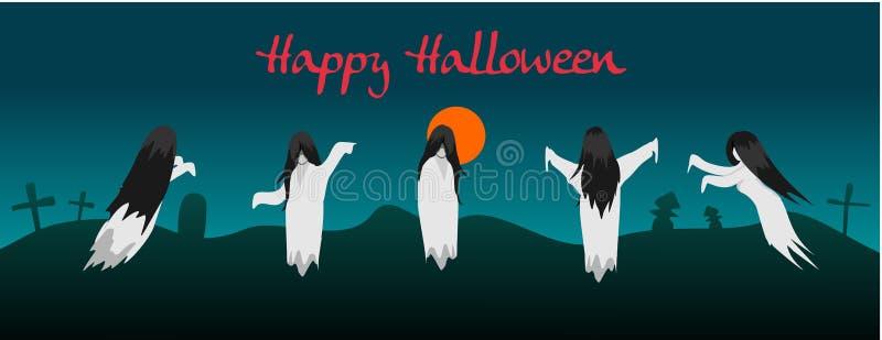 El fantasma de Indonesia llamó el kuntilanak para Halloween libre illustration