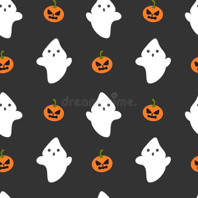 El fantasma y la calabaza Halloween inconsútil de la historieta modelan el ejemplo del fondo ilustración del vector