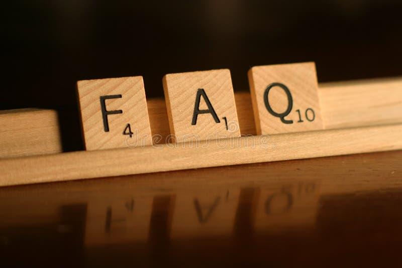 El FAQ hizo con frecuencia preguntas fotos de archivo