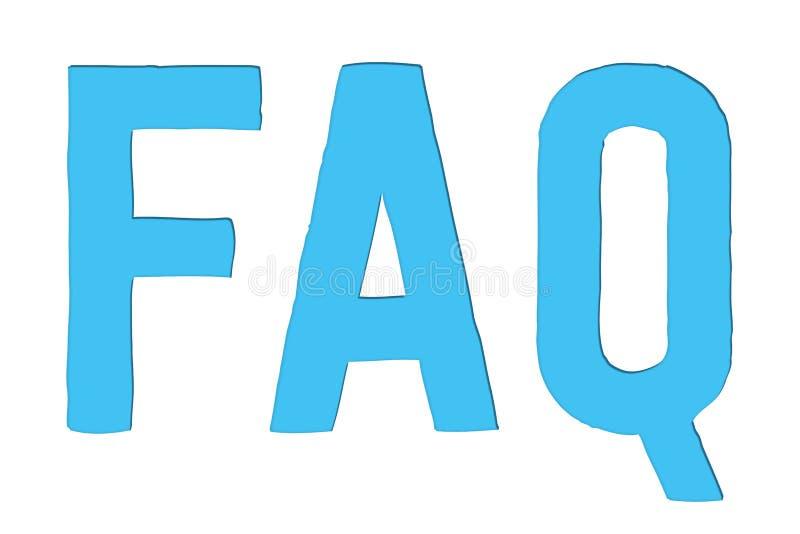 El FAQ hizo con frecuencia preguntas que el texto de la palabra de la abreviatura en color azul claro cortó aislado en el fondo b stock de ilustración